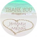 Heart In Sand Personalised Round Wedding Sticker