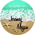 Beach Personalised Round Wedding Sticker (40)