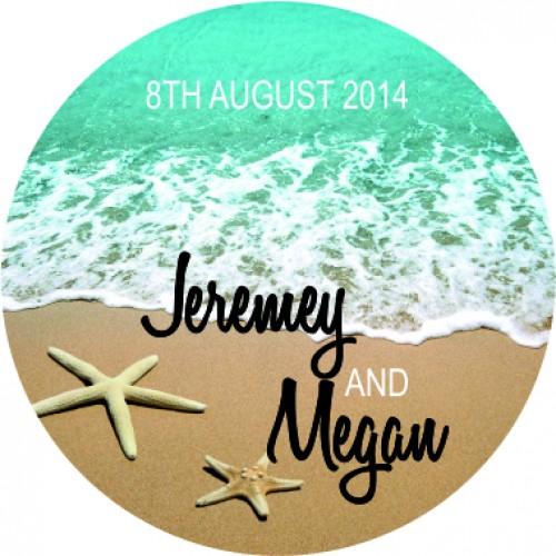 Beach personalised round wedding sticker 40