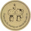 Bride Groom Personalised Round Wedding Sticker