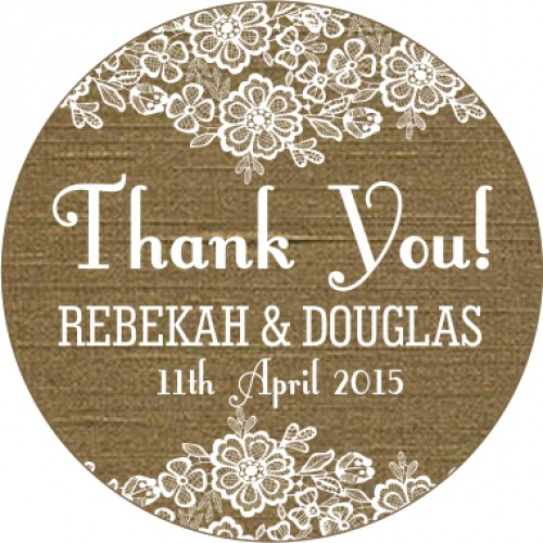 Rustic vintage burlap and lace personalised wedding sticker