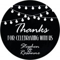Fairy Light Chalkboard Personalised Wedding Sticker