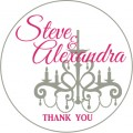 Chandelier Personalised Round Wedding Sticker