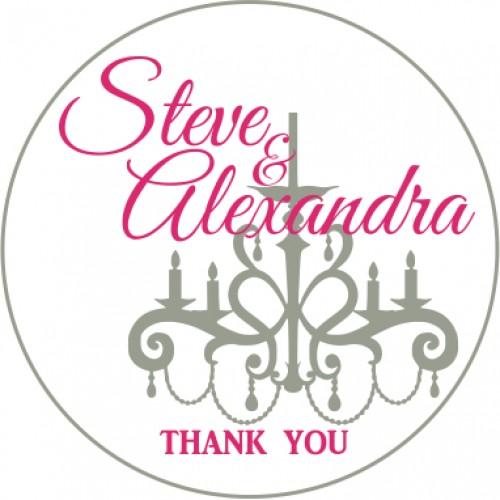 Chandelier personalised round wedding sticker