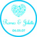 Decorative Heart Personalised Round Wedding Sticker