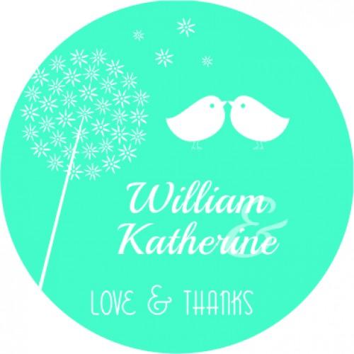Love birds personalised round wedding sticker