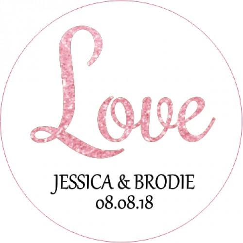 Rose gold love personalised round wedding sticker