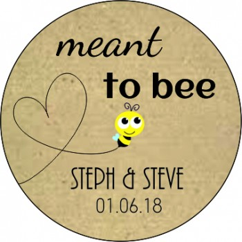 Meant to bee Personalised Round Wedding Sticker