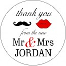 Mr & Mrs Personalised Round Wedding Sticker