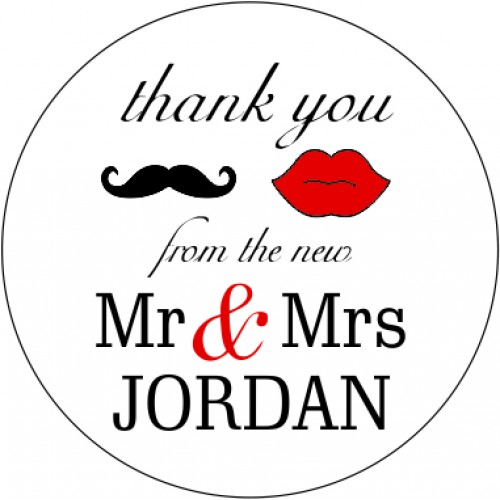 Mr mrs personalised round wedding sticker