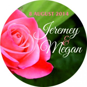 Rose Personalised Round Wedding Sticker