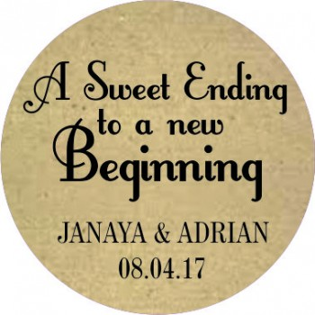 Rustic Sweet Ending Personalised Round Wedding Sticker