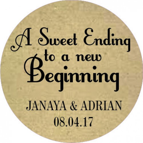 Rustic sweet ending personalised round wedding sticker