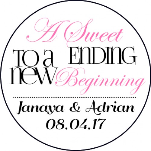 Sweet ending personalised round wedding sticker