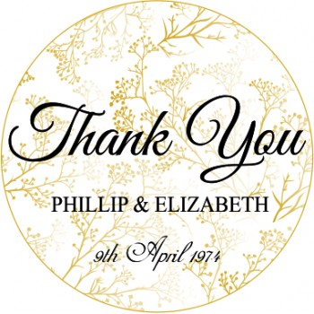 Gold Flowers Thank You Personalised  Wedding Sticker