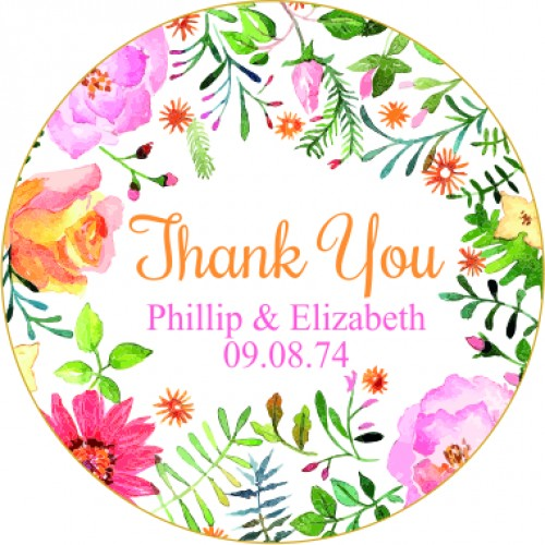Thank You Spring Flowers Personalised Round Wedding Sticker