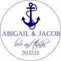 Nautical Anchor Personalised Round Wedding Sticker