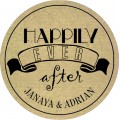 Rutic Happily Ever After Personalised Wedding Sticker