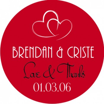 Double Heart Personalised Round Wedding Sticker