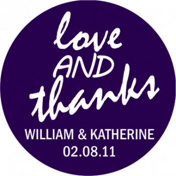 Love and Thanks Personalised Round Wedding Sticker