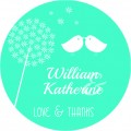 Love Birds Personalised Round Wedding Sticker