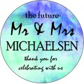 Mr & Mrs Watercolour Personalised Round Wedding Sticker