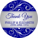 Swirl Thank You Personalised Round Wedding Sticker
