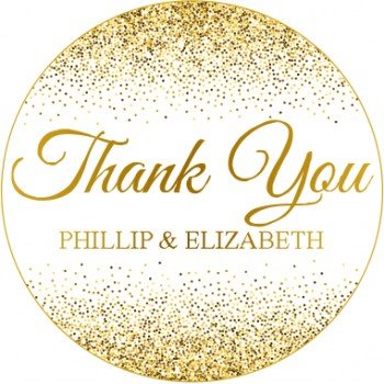 Gold Glitter Thank You Personalised Round Wedding Sticker