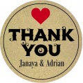 Rustic Thank You Personalised Round Wedding Sticker