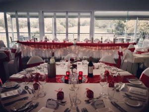 Bridal Table Draping Red