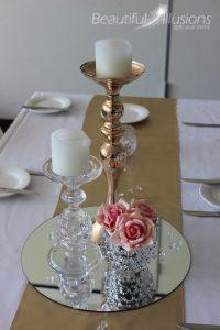 Crystal & Rose Gold Candlesticks