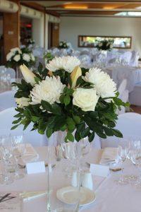Cylinder Vase with White Fresh Flower Arrangement