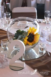 Fishbowl with Sunflowers