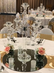 Glass Candelabra with Artificial Pink Flowers