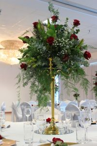 Gold Candelabra with Fresh Flowers