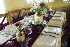 Mason Jars with Burgundy & White Fresh Flowers