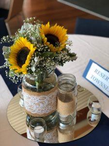Mason Jars with Sunflowers