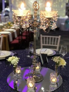 Silver Candelabra with Crystal Cups