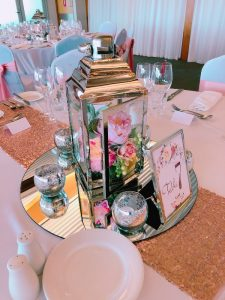 Silver Lantern with Artificial Flowers