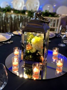 Silver Lantern with Flowers