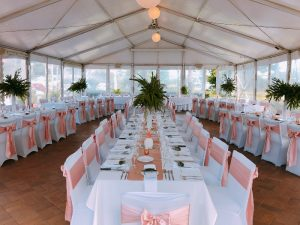 White Vases with Rose Gold and Fresh Tropical Arrangement